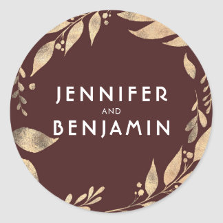 Burgundy and Gold Leaves Fall Wedding Classic Round Sticker