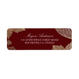 Burgundy and Gold Leaves Fall Wedding Return Address Label
