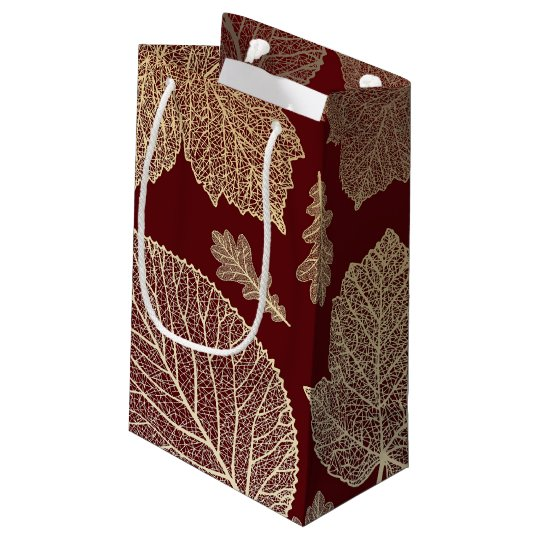 Burgundy and Gold Leaves Fall Wedding Small Gift