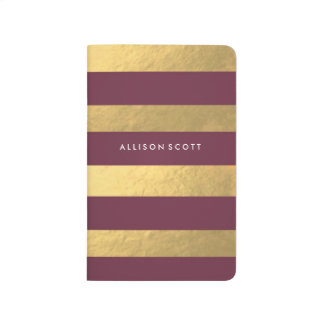 Burgundy And Gold Personalised Journal