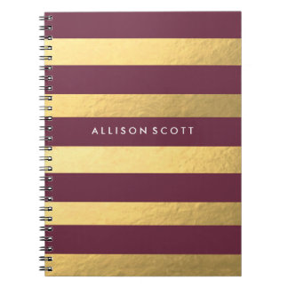 Burgundy And Gold Personalised Notebook