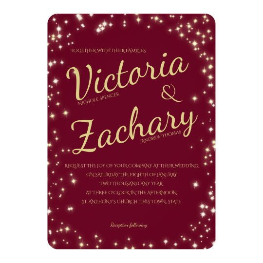 Burgundy and Gold Sparkle Wedding Card