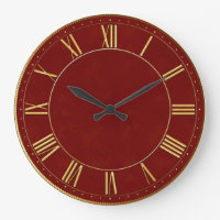 Burgundy and Gold Vintage Roman Numeral Large Clock