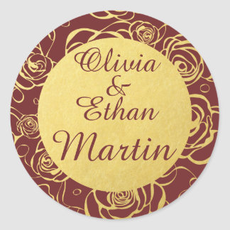 Burgundy and Golden Roses Envelope Stickers