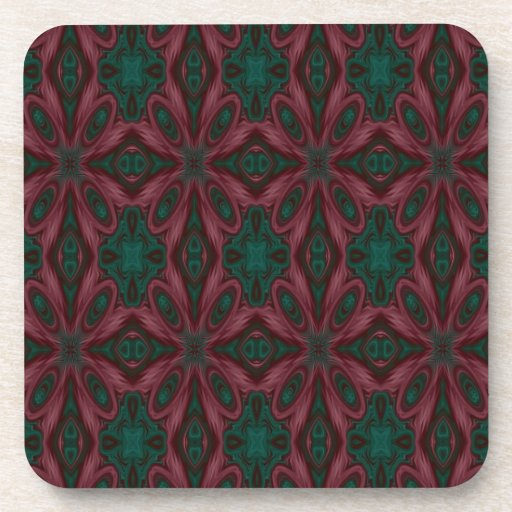 Burgundy and Green Floral Coaster
