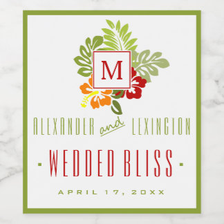 Burgundy and Green Hibiscus Monogrammed Wedding Wine Label