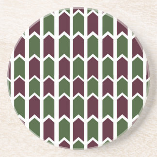 Burgundy and Green Panel Fence Drink Coaster