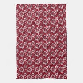 Burgundy and Grey Floral Tea Towel