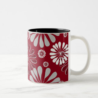 Burgundy and Grey Floral Two-Tone Coffee Mug