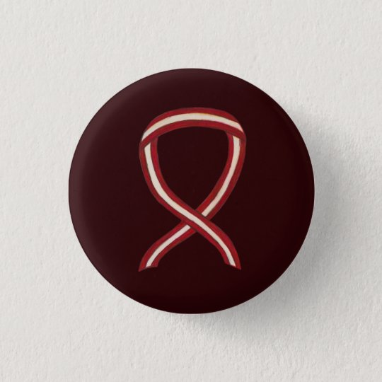 Burgundy and Ivory Awareness Ribbon Pin Buttons