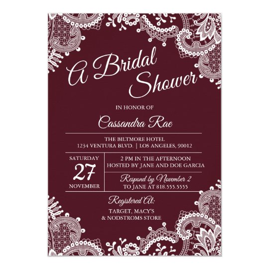 Burgundy and Lace Bridal Shower Invitation