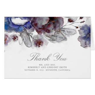 Burgundy and Navy Floral Wedding Thank You Card