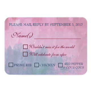 Burgundy and Navy Wedding RSVP with Meal Options 9 Cm X 13 Cm Invitation Card