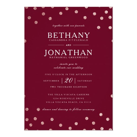 Burgundy and Rose Gold Glitter Wedding Invitation