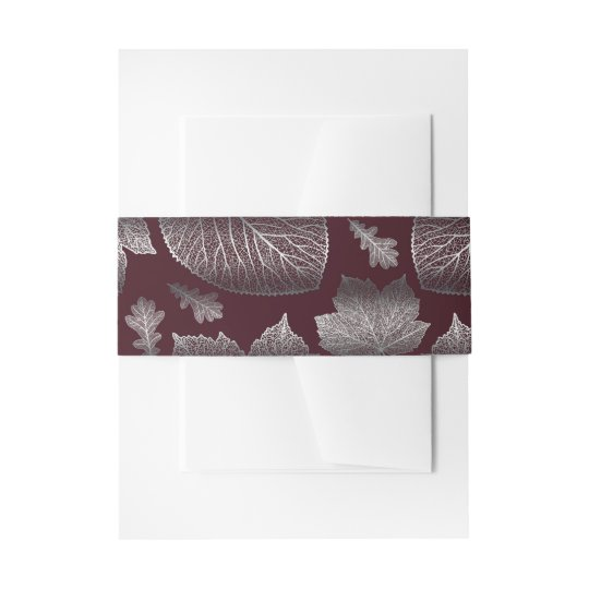 burgundy and silver fall leaves wedding invitation belly