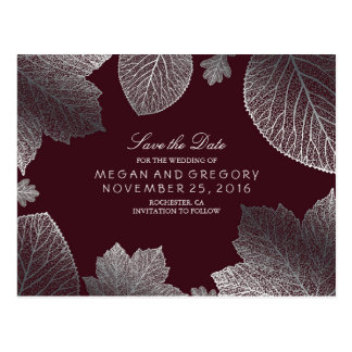 burgundy and silver leaves fall save the date postcard