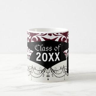 burgundy and white bird damask ornate graduation basic white mug