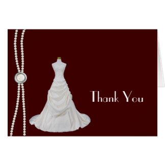 Burgundy and White Bridal Shower Thank You Card