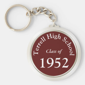 Burgundy and White Class Reunion Gift Ideas Basic Round Button Key Ring