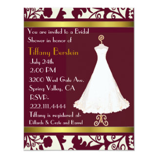 Burgundy and White Damask Bridal Shower Invitation
