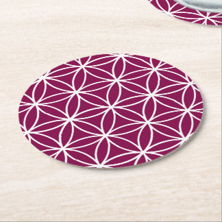 Burgundy and White Graphic Pattern Design Round Paper Coaster