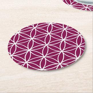 Burgundy and White Graphic Pattern Design Round Paper Coaster