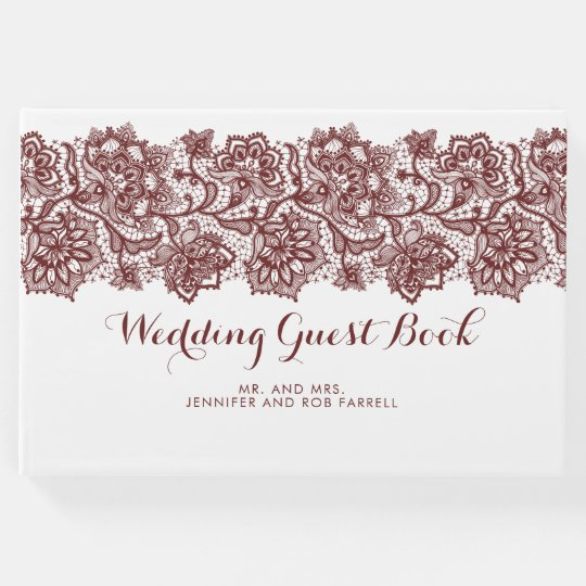 Burgundy and White Lace Wedding Guest Book