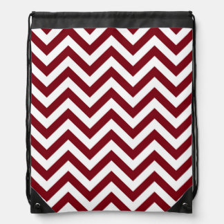 Burgundy and White Large Chevron ZigZag Pattern Drawstring Bag