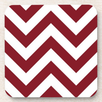 Burgundy and White Large Chevron ZigZag Pattern Drink Coasters