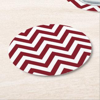 Burgundy and White Large Chevron ZigZag Pattern Round Paper Coaster