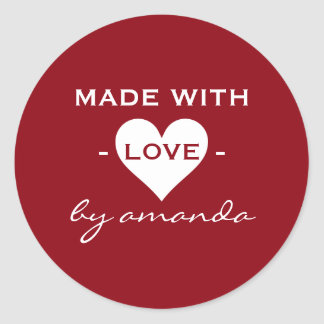Burgundy and White - Made With Love (Custom Color) Classic Round Sticker