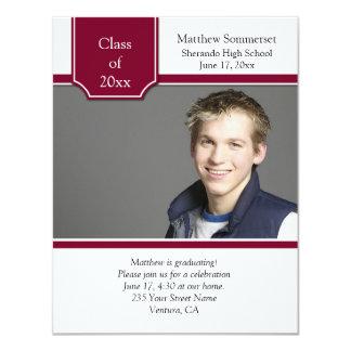Burgundy and White Photo Graduation Invitation