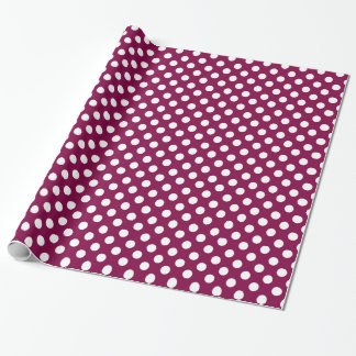 Burgundy and White Polka Dot Wrapping Paper