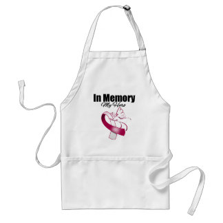 Burgundy and White Ribbon In Memory of My Hero Standard Apron