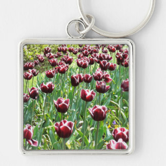 Burgundy and White Tulips Silver-Colored Square Key Ring