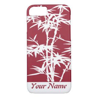 Burgundy Asian Black Bamboo silhouetteMonogram iPhone 7 Case