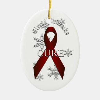 Burgundy Awareness Ribbon Christmas Cure Ornament