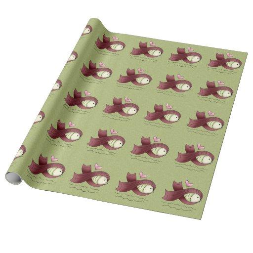 Burgundy Awareness Ribbon Fish & Heart Wrapping Paper
