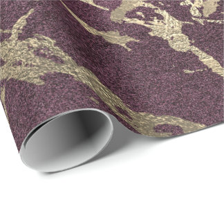 Burgundy Beetroot Foxier Gold Marble Shiny Glam Wrapping Paper