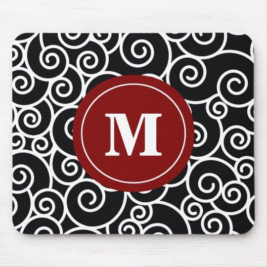 Burgundy Black Swirl Monogram Mouse Pad. Mouse Mat