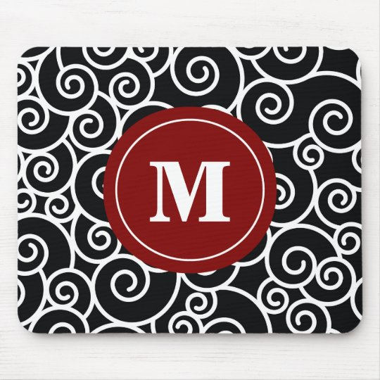 Burgundy Black Swirl Monogram Mouse Pad. Mouse Pad