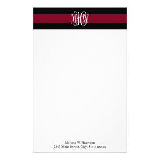 Burgundy Blk Horiz Stripe #3 Vine Script Monogram Stationery Paper