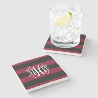 Burgundy Blk Horiz Stripe #3 Vine Script Monogram Stone Beverage Coaster