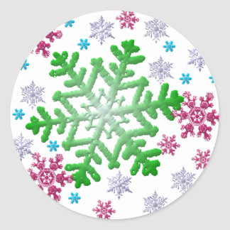 Burgundy Blue Green & Silver Snowflakes Classic Round Sticker