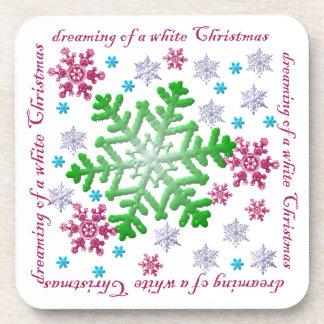 Burgundy Blue Green & Silver Snowflakes Cork Coaster