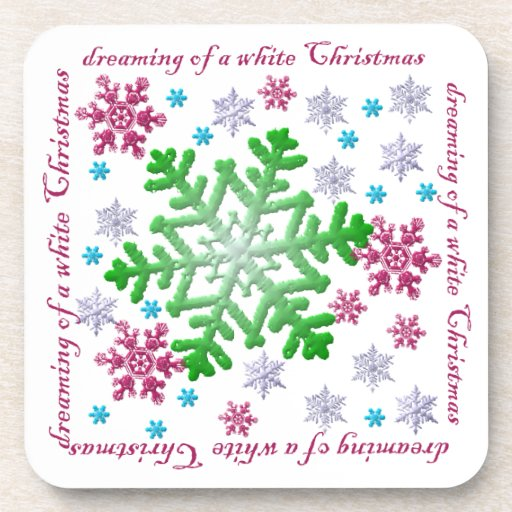 Burgundy Blue Green & Silver Snowflakes Cork Coasters