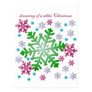 Burgundy Blue Green & Silver Snowflakes Postcards