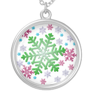 Burgundy Blue Green & Silver Snowflakes Round Pendant Necklace