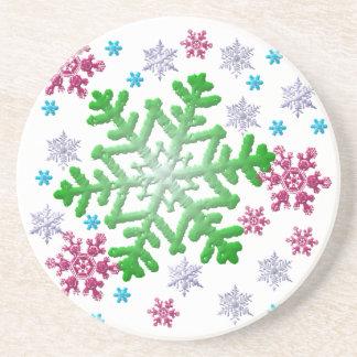 Burgundy Blue Green & Silver Snowflakes Sandstone Coaster