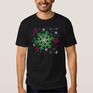 Burgundy Blue Green & Silver Snowflakes Tee Shirts